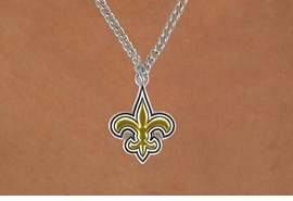 <Br>              LEAD & NICKEL FREE!!<Br>            OFFICIALLY LICENSED!!<Br>    NATIONAL FOOTBALL LEAGUE!!<Br>W14934N - NEW ORLEANS SAINTS<Br>            CHAIN LOGO NECKLACE<br>                   AS LOW AS $4.20