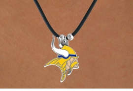 <Br>             LEAD & NICKEL FREE!!<Br>           OFFICIALLY LICENSED!!<Br>  NATIONAL FOOTBALL LEAGUE!!!<Br>W14938N - MINNESOTA VIKINGS<Br>    BLACK CORD LOGO NECKLACE<br>                  AS LOW AS $2.99