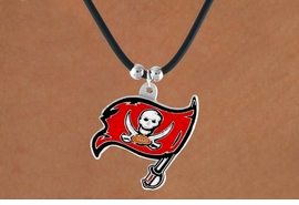<Br>                LEAD & NICKEL FREE!!<Br>               OFFICIALLY LICENSED!!<Br>      NATIONAL FOOTBALL LEAGUE!!!<Br>W14946N - TAMPA BAY BUCCANEERS<Br>         BLACK CORD LOGO NECKLACE<br>                       AS LOW AS $2.99