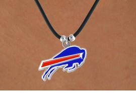 <Br>            LEAD & NICKEL FREE!!<Br>          OFFICIALLY LICENSED!!<Br> NATIONAL FOOTBALL LEAGUE!!!<Br>      W14947N - BUFFALO BILLS<Br>   BLACK CORD LOGO NECKLACE<br>                 AS LOW AS $2.99