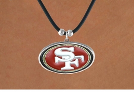 <Br>                LEAD & NICKEL FREE!!<Br>              OFFICIALLY LICENSED!!<Br>     NATIONAL FOOTBALL LEAGUE!!!<Br>W14950N - SAN FRANCISCO 49ERS<Br>       BLACK CORD LOGO NECKLACE<br>                    AS LOW AS $2.99