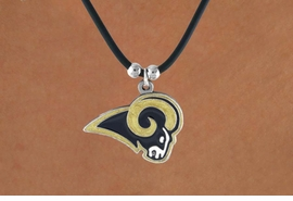 <Br>            LEAD & NICKEL FREE!!<Br>          OFFICIALLY LICENSED!!<Br> NATIONAL FOOTBALL LEAGUE!!!<Br>     W16678N -ST. LOUIS RAMS<Br>  BLACK CORD LOGO NECKLACE<br>           FROM $3.99