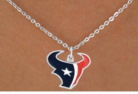 <Br>         LEAD & NICKEL FREE!!<Br>        OFFICIALLY LICENSED!!<Br>NATIONAL FOOTBALL LEAGUE!!<Br>W17687N - HOUSTON TEXANS<Br>       CHAIN LOGO NECKLACE<br>       FROM $6.19 TO $13.75
