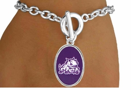 """<Br>                     LEAD & NICKEL FREE!!<Br>                   OFFICIALLY LICENSED!!<bR>W15033B - TEXAS CHRISTIAN UNIVERSITY<Br>             """"HORNED FROGS"""" BRACELET<BR>                           AS LOW AS $3.65"""