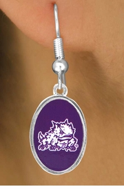 "<Br>                     LEAD & NICKEL FREE!!<Br>                   OFFICIALLY LICENSED!!!<bR>W15034E - TEXAS CHRISTIAN UNIVERSITY<Br>             ""HORNED FROGS"" EARRINGS<Br>                           AS LOW AS $3.65"