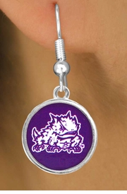 "<Br>                     LEAD & NICKEL FREE!!<Br>                   OFFICIALLY LICENSED!!!<bR>W15037E - TEXAS CHRISTIAN UNIVERSITY<Br>             ""HORNED FROGS"" EARRINGS<Br>                           AS LOW AS $3.65"