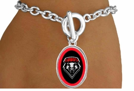 <Br>                    LEAD & NICKEL FREE!!<Br>                   OFFICIALLY LICENSED!!<bR>W15288B - UNIVERSITY OF NEW MEXICO<Br> LOBOS BRACELET FROM $3.94 TO $8.75