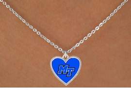 <Br>              LEAD & NICKEL FREE!!<Br>            OFFICIALLY LICENSED!!<bR>    W15612N - MIDDLE TENNESSE<Br>STATE UNIVERSITY BLUE RAIDERS<Br> NECKLACE FROM $3.94 TO $8.75