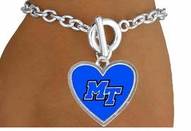 <Br>             LEAD & NICKEL FREE!!<Br>           OFFICIALLY LICENSED!!<bR>  W15614B - MIDDLE TENNESSEE<Br>STATE UNIVERSITY BLUE RAIDERS<Br>  BRACELET FROM $3.94 TO $8.75