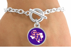 <Br>              LEAD & NICKEL FREE!!<Br>            OFFICIALLY LICENSED!!<bR>   W15758B - STEPHEN F. AUSTIN<Br>STATE UNIVERSITY LUMBERJACKS<Br>  BRACELET FROM $3.94 TO $8.75