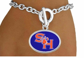 <Br>                  LEAD & NICKEL FREE!!<Br>                OFFICIALLY LICENSED!!<bR> W19131B - SAM HOUSTON UNIVERSITY<Br>BEARKATS BRACELET FROM $3.35 TO $7.50
