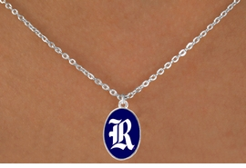 "<Br>                  LEAD & NICKEL FREE!!<Br>                OFFICIALLY LICENSED!!<bR> W19134N - RICE UNIVERSITY OWLS<Br>""R"" LOGO NECKLACE FROM $3.65 TO $8.75"
