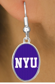 """<Br>                   LEAD & NICKEL FREE!!<Br>                OFFICIALLY LICENSED!!!<bR>W19170E - NEW YORK UNIVERSITY """"NYU""""<Br>         EARRINGS FROM $3.94 TO $8.75"""