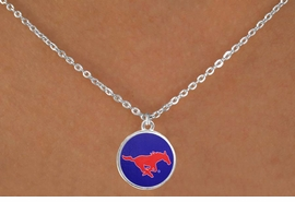"<Br>                  LEAD & NICKEL FREE!!<Br>                OFFICIALLY LICENSED!!<bR> W19175N - SOUTHERN METHODIST <br>UNIVERSITY  ""MUSTANGS"" LOGO <Br>   NECKLACE FROM $3.94 TO $8.75"