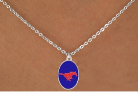 "<Br>                  LEAD & NICKEL FREE!!<Br>                OFFICIALLY LICENSED!!<bR> W19176N - SOUTHERN METHODIST <br>UNIVERSITY  ""MUSTANGS"" LOGO <Br>   NECKLACE FROM $3.94 TO $8.75"