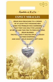 "<Br>               LEAD & NICKEL FREE!!<Br>  RELIGIOUS SYMBOLS OF FAITH!!<Br>  W15298B - ""EXPECT MIRACLES""<Br>HEART CHARM AND CLEAR BEADED<Br>   BRACELET WITH GIFT CARD AND<Br>       ENVELOPE AS LOW AS $6.97"