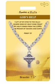 "<Br>            LEAD & NICKEL FREE!!<Br>RELIGIOUS SYMBOLS OF FAITH!!<Br>       W15299B - ""GOD'S HELP""<Br>    PSALM 121 CROSS BRACELET<bR>WITH GIFT CARD AND ENVELOPE<bR>                AS LOW AS $5.47"