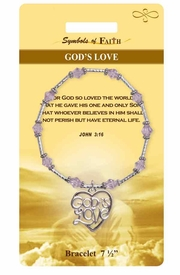 "<Br>                LEAD & NICKEL FREE!!<Br>    RELIGIOUS SYMBOLS OF FAITH!!<Br>W15300B - ""GOD'S LOVE"" JOHN 3:16<Br>   HEART BRACELET WITH GIFT CARD<Br>    AND ENVELOPE AS LOW AS $8.47"