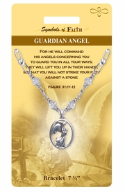 "<Br>                LEAD & NICKEL FREE!!<Br>   RELIGIOUS SYMBOLS OF FAITH!!<Br>    W15301B - ""GUARDIAN ANGEL""<Br>ANGEL AND PSALMS CLEAR BEADED<Br>    BRACELET WITH GIFT CARD AND<Br>        ENVELOPE AS LOW AS $6.97"