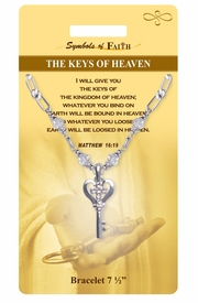 "<Br>                 LEAD & NICKEL FREE!!<Br>     RELIGIOUS SYMBOLS OF FAITH!!<Br>       W15303B - ""KEYS OF HEAVEN""<Br>KEY WITH CROSS AND CLEAR BEADED<Br>      BRACELET WITH GIFT CARD AND<Br>          ENVELOPE AS LOW AS $6.47"