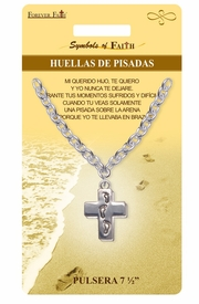 "<Br>                LEAD & NICKEL FREE!!<Br>     RELIGIOUS SYMBOLS OF FAITH!!<Br> W15310B - ""HUELLAS DE PISADAS""<Br>FOOTPRINTS CROSS BRACELET WITH<Br>           GIFT CARD AND ENVELOPE<Br>                     AS LOW AS $5.47"