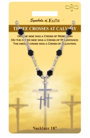 "<Br>              LEAD & NICKEL FREE!!<Br>   RELIGIOUS SYMBOLS OF FAITH!!<Br>   W15318N - ""THREE CROSSES AT<Br>CALVARY"" CROSS NECKLACE WITH<Br>         GIFT CARD AND ENVELOPE<bR>                   AS LOW AS $7.97"