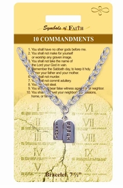 """<Br>                 LEAD & NICKEL FREE!!<Br>    RELIGIOUS SYMBOLS OF FAITH!!<Br>  W15370B - """"10 COMMANDMENTS""""<Br>TABLET CHARM BRACELET WITH GIFT<Br> CARD & ENVELOPE AS LOW AS $5.47"""