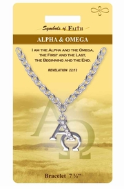 """<Br>             LEAD & NICKEL FREE!!<Br> RELIGIOUS SYMBOLS OF FAITH!!<Br>W15372B - """"ALPHA AND OMEGA""""<Br>  AUSTRIAN CRYSTAL ACCENTED<Br>    BRACELET WITH GIFT CARD &<Br>     ENVELOPE AS LOW AS $6.47"""