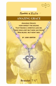"""<Br>                LEAD & NICKEL FREE!!<Br>    RELIGIOUS SYMBOLS OF FAITH!!<Br>       W15373B - """"AMAZING GRACE""""<Br>CROSS CHARM BRACELET WITH GIFT<Br>CARD & ENVELOPE AS LOW AS $6.97"""