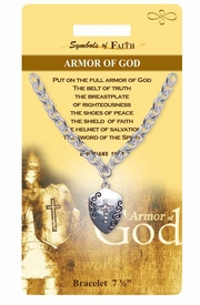 """<Br>                 LEAD & NICKEL FREE!!<Br>     RELIGIOUS SYMBOLS OF FAITH!!<Br>W15374B - """"ARMOR OF GOD"""" SHIELD<Br>    AND CROSS BRACELET WITH GIFT<Br> CARD & ENVELOPE AS LOW AS $6.47"""
