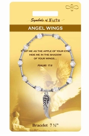 """<Br>                LEAD & NICKEL FREE!!<Br>    RELIGIOUS SYMBOLS OF FAITH!!<Br>         W15375B - """"ANGEL WINGS""""<Br> WING CHARM BRACELET WITH GIFT<Br>CARD & ENVELOPE AS LOW AS $8.47"""
