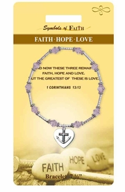 """<Br>                LEAD & NICKEL FREE!!<Br>    RELIGIOUS SYMBOLS OF FAITH!!<Br>      W15377B - """"FAITH HOPE LOVE""""<Br>HEART CHARM BRACELET WITH GIFT<Br>CARD & ENVELOPE AS LOW AS $8.47"""