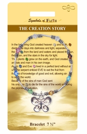 """<Br>               LEAD & NICKEL FREE!!<Br>    RELIGIOUS SYMBOLS OF FAITH!!<Br>W15385B - """"THE CREATION STORY""""<Br> BUTTERFLY AND CROSS BRACELET<Br>       WITH GIFT CARD & ENVELOPE<Br>                   AS LOW AS $8.47"""