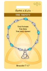 """<Br>              LEAD & NICKEL FREE!!<Br>  RELIGIOUS SYMBOLS OF FAITH!!<Br>W15387B - """"THE TRINITY"""" CHARM<Br>      BRACELET WITH GIFT CARD &<Br>       ENVELOPE AS LOW AS $8.47"""