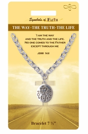 """<Br>              LEAD & NICKEL FREE!!<Br>  RELIGIOUS SYMBOLS OF FAITH!!<Br>W15388B - """"THE WAY, THE TRUTH,<Br>  THE LIFE"""" OVAL DROP BRACELET<Br>     WITH GIFT CARD & ENVELOPE<Br>                  AS LOW AS $5.47"""