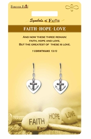 "<Br>              LEAD & NICKEL FREE!!<Br>  RELIGIOUS SYMBOLS OF FAITH!!<Br>   W15420E - ""FAITH HOPE LOVE""<Br>HEART EARRINGS WITH GIFT CARD<Br>     & ENVELOPE AS LOW AS $4.47"