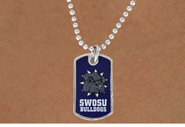 "<Br>               LEAD & NICKEL FREE!!<Br>         STERLING SILVER PLATED!!<bR>  OFFICIALLY LICENSED COLLEGE!!<Br>       W17048N - SOUTHWESTERN<Br>    OKLAHOMA STATE UNIVERSITY<BR>""BULLDOGS"" DOG TAG NECKLACE<br>              FROM $3.94 TO $8.75"