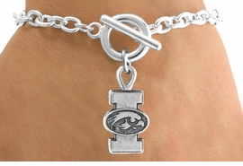 <Br>                LEAD & NICKEL FREE!!<Br>          STERLING SILVER PLATED!!<bR>  W12828B - LICENSED UNIVERSITY<Br>         OF IOWA HAWKEYES LOGO &<Br>MASCOT BRACELET AS LOW AS $3.65