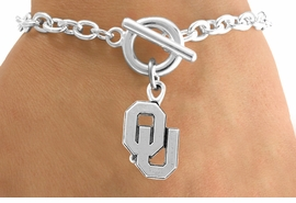 <Br>             LEAD & NICKEL FREE!!<Br>        STERLING SILVER PLATED!!<bR>W12869B - LICENSED UNIVERSITY<Br>  OF OKLAHOMA LOGO BRACELET<Br>                   AS LOW AS $3.65