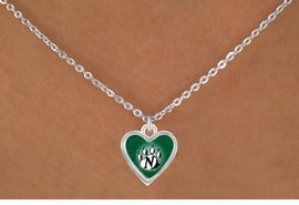 <Br>                LEAD & NICKEL FREE!!<Br>           STERLING SILVER PLATED!!<bR>  W12925N - LICENSED NORTHWEST<Br>MISSOURI STATE UNIVERSITY HEART<Br>              LOGO & PAW NECKLACE<bR>                      AS LOW AS $3.65