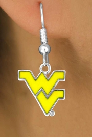 <Br>              LEAD & NICKEL FREE!!<Br>        STERLING SILVER PLATED!!<bR>    W12935E - YELLOW LICENSED<Br>       WEST VIRGINIA UNIVERSITY<Br>MOUNTAINEERS LOGO EARRINGS<br>                  AS LOW AS $3.65