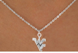 <Br>              LEAD & NICKEL FREE!!<Br>        STERLING SILVER PLATED!!<bR>     W12936N - SILVER LICENSED<Br>       WEST VIRGINIA UNIVERSITY<Br>MOUNTAINEERS LOGO NECKLACE<br>                  AS LOW AS $3.65
