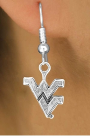 <Br>            LEAD & NICKEL FREE!!<Br>       STERLING SILVER PLATED!!<bR>     W12937E - SILVER LICENSED<Br>      WEST VIRGINIA UNIVERSITY<Br>MOUNTAINEERS LOGO EARRINGS<br>                 AS LOW AS $3.65