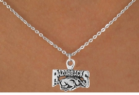 <Br>                 LEAD & NICKEL FREE!!<Br>           STERLING SILVER PLATED!!<bR>   W12938N - LICENSED UNIVERSITY<Br>         OF ARKANSAS RAZORBACKS<Br>MASCOT NECKLACE AS LOW AS $1.99