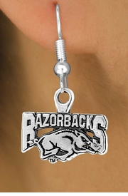 <Br>                LEAD & NICKEL FREE!!<Br>          STERLING SILVER PLATED!!<bR>   W12939E - LICENSED UNIVERSITY<Br>         OF ARKANSAS RAZORBACKS<Br>MASCOT EARRINGS AS LOW AS $1.99