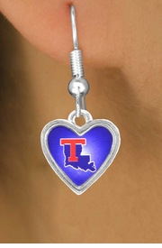 <Br>              LEAD & NICKEL FREE!!<Br>        STERLING SILVER PLATED!!<bR>W12990E - LICENSED LOUISIANA<Br>     TECH UNIVERSITY BULLDOGS<Br>     HEART WITH LOGO EARRINGS<bR>                   AS LOW AS $3.65