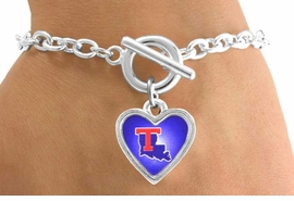 <Br>              LEAD & NICKEL FREE!!<Br>        STERLING SILVER PLATED!!<bR>W12991B - LICENSED LOUISIANA<Br>     TECH UNIVERSITY BULLDOGS<Br>     HEART WITH LOGO BRACELET<bR>                   AS LOW AS $3.65