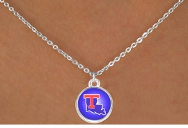<Br>              LEAD & NICKEL FREE!!<Br>        STERLING SILVER PLATED!!<bR>W12992N - LICENSED LOUISIANA<Br>     TECH UNIVERSITY BULLDOGS<Br>    CIRCLE WITH LOGO NECKLACE<bR>                   AS LOW AS $3.65