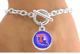 <Br>              LEAD & NICKEL FREE!!<Br>        STERLING SILVER PLATED!!<bR>W12994B - LICENSED LOUISIANA<Br>     TECH UNIVERSITY BULLDOGS<Br>    CIRCLE WITH LOGO BRACELET<bR>                   AS LOW AS $3.65
