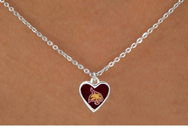"<Br>           LEAD & NICKEL FREE!!<Br>      STERLING SILVER PLATED!!<bR>    W13362N - LICENSED TEXAS<Br> STATE UNIVERSITY ""BOBCATS""<Br>HEART WITH MASCOT NECKLACE<bR>                 AS LOW AS $3.65"